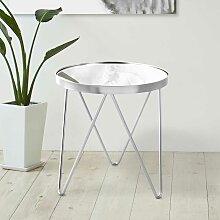 Glastisch in Silberfarben Metall rund