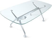 Glastisch Konferenztisch ITS Silber 220 x 110 cm