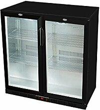 Glastür-Kühlschrank 90 x 90 x 52 cm schwarz  