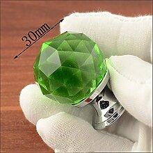 Glastürgriff Schrank Griff kleiner Weinschrank Schubladenschrank kleines runde Lochreihe 2 Stück Griff, F-30 grün