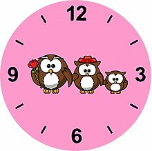 "Glasuhr Ø 20cm ""EULE- TIER- VOGEL- LUSTIG- FAMILIE- VATER- MUTTER- KINDER- ROSE- FARBBAND"" in Pink - aus Glas- Wand Uhr- Regaluhr- Bestseller- Spass- Kult- Motiv Geschenkidee Ostern Weihnachten"