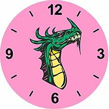 Glasuhr Ø 20cm Drachenhals Kopf Cartoon Dragon in