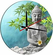 Glasuhr Buddha mit Jasminblüten B x H: 30cm x 30cm von Klebefieber®