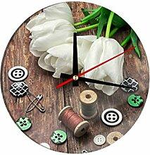 Glasuhr Tulpen mit Nähzeug B x H: 30cm x 30cm von Klebefieber®