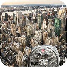 Glasuntersetzer Edelstahl mit New York Motiv (6B)