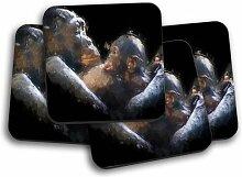 Glasuntersetzer Gorilla Mother & Child