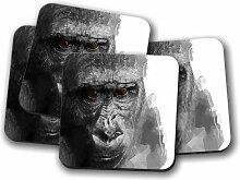 Glasuntersetzer Gorilla with Brown Eyes