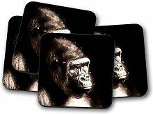 Glasuntersetzer Mighty Silverback Gorilla
