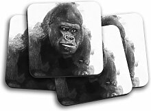 Glasuntersetzer-Set A Silverback Gorilla