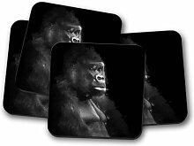 Glasuntersetzer-Set Silberrücken-Gorilla in