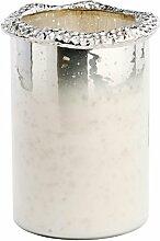 Glasvase mit Aluminiumrand weiß - silber 27cm