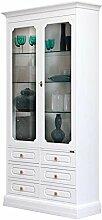 Glasvitrine mit Türen und Schubladen, Vitrine mit