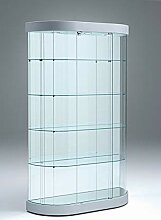 Glasvitrine oval Ausstellungsvitrine 110 cm breit