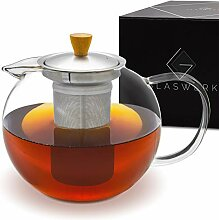 GLASWERK Design Teekanne (1,3L) - Teekanne Glas
