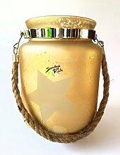 Glaswindlicht in Gold mit Kordel Wohn- und Gartenaccessoire