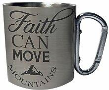 Glaube kann Berge versetzen Edelstahl Karabiner