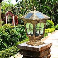 GLCJW Solar-Gartenleuchte,Zaun Posten Lampen,Leuchten,Villa Licht,Gartentor Hause wasserdichte Lampe,solar Säule Wandleuchte