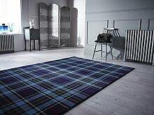 Glen Kilry -Teppich für das Wohnzimmer - Traditionell & Klassisch - Tartanmuster Blau 80 x 150cm