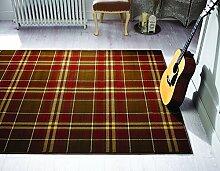 Glen Kilry -Teppich für das Wohnzimmer - Traditionell & Klassisch - Tartanmuster Beige/Tan 120 x 170cm