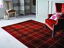 Glen Kilry -Teppich für das Wohnzimmer - Traditionell & Klassisch - Tartanmuster Rot 160 x 230cm