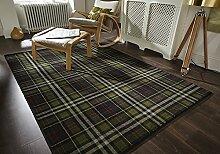 Glen Kilry -Teppich für das Wohnzimmer - Traditionell & Klassisch - Tartanmuster Schwarz 160 x 230cm