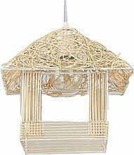 GLF Kreative Rattan Gemütliches Ferienhaus Birdcage Chandelier,White