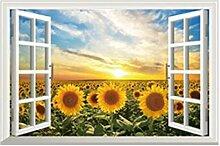 GLF-Simulations-Fenster-Wand-Aufkleber-Schlafzimmer-Raum-Wand-Dekorationen-Tapete Selbstklebendes Schlafzimmer-warme Aufkleber-Wohnzimmer-Aufkleber,5