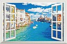 GLF-Simulations-Fenster-Wand-Aufkleber-Schlafzimmer-Raum-Wand-Dekorationen-Tapete Selbstklebendes Schlafzimmer-warme Aufkleber-Wohnzimmer-Aufkleber,4
