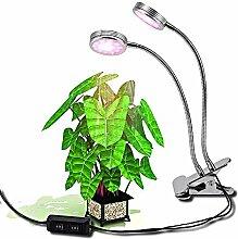 Glighone LED Pflanzenlampe mit Doppelkopf 16W 32 LEDs Pflanzenleuchte 2 verstellbare Lichtmodi 360° Einstellbar für Wasserpflanzen Topf- und Zimmerpflanzen Saatgut Blumen Gemüse EU Stecker