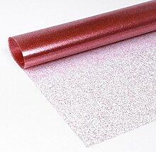 Glitter Folie Rot, Transparente Glitzer TISCHDECKE, LFGB geprüft, Meterware, 220x140 cm, Länge wählbar, Beautex