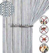 Glitzer-Fadenvorhang, Türvorhang, Insektenschutz, Türen-Trennwand oder Fenstervorhang, 99,1x 199,4cm silber