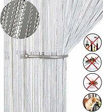 Glitzer-Fadenvorhang, Türvorhang, Insektenschutz, Türen-Trennwand oder Fenstervorhang, 99,1x 199,4cm weiß