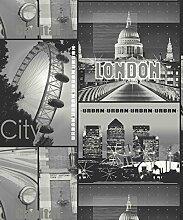 Glitzer London Schwarz Tapete - Arthouse - schwarz und weiß, 53cm x 1005cm, Komplette Rolle