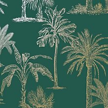 Glitzernde tropische Bäume Tapete Petrol/Gold