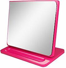 GLN Spiegel Desktop-Prinzessin Make-up-Spiegel hölzerner kreativer beweglicher beweglicher faltender Spiegel Europäischer Retro- Dressing-Spiegel ( farbe : Pink )
