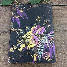 Global- B5 (257 * 184mm) Europäische Retro Blumen bedecken Notizblock Weißbuch Horizontale Linie Inner Core-Notebook-Briefpapier Bürobedarf Universal Notebook