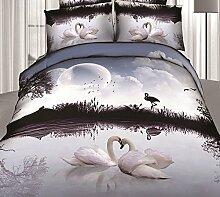Global- Baumwolle Bettwäsche Bettwäsche * 1, Quilt Cover * 1, Kissenbezug * 2, Pastoral Style 3D Effekte Home Textiles Supplies ( größe : 1.8m (6ft) Bed )