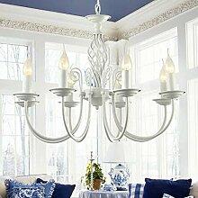 Global Blau minimalistische moderne mediterrane schmiedeeiserne Kronleuchter Wohnzimmer Restaurant Schlafzimmer Lampe