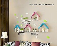 Global- Einfache moderne Holz-Paneele Schwimmende Regal / Pflanze Stand / Wand Regale, Wohnzimmer Wand Hängende TV Kulisse Dekoration Rack Wall Shelf ( Farbe : #2 )