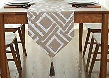 Global- Einfache Moderne Stil Baumwolle Leinen Material Geometrische Muster Tabelle Flagge, Couchtisch Esstisch TV Schrank Tischläufer ( größe : 32*200cm )