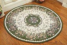 Global- Europäische-Stil Pastoral Runde Teppiche, Pflanze Blumen Kissen Teppich Blended Material Büro Studie Couchtisch Wohnzimmer Teppich ( größe : Diameter 100cm )