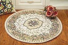 Global- Europäische-Stil Pastoral Runde Teppiche, Pflanze Blumen Kissen Teppich Blended Material Büro Studie Couchtisch Wohnzimmer Teppich ( größe : Diameter 120cm )