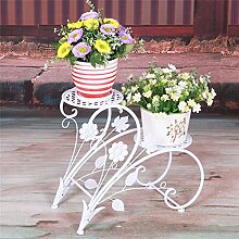 Global- Europäischer Hirtenstil Zwei Ebenen Eisen Material Boden Standart Blumenständer, Garten Schlafzimmer Balkon Fensterbank Büro Wohnzimmer Korridor Blumentopf Regal(45 * 20 * 42cm) ( Farbe : Weiß )