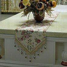 Global- Europäisches Tuch Material Pflanze Blumen Muster Tisch Flagge, Couchtisch Esstisch TV-Schrank Tischläufer ( größe : 30*240cm )