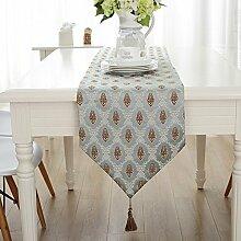 Global- European Style Blended Material Pflanze Blumen Muster Tisch Flagge, Couchtisch Esstisch TV Schrank Tischläufer ( größe : 32*220cm )