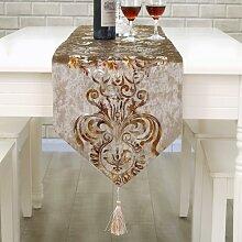 Global- European Style Couchtisch Esstisch TV Schrank Tischfahne, Samt Stoff Faser Stoff Bronzing Craft Tischläufer ( farbe : #1 , größe : 33*210cm )