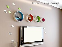 Global- European Style Holz Rundförmige Wand Shelf / Floating Regal / Pflanze Stand / Flower Racks / Bücherregal, Wohnzimmer Wand Hängende TV Backdrop Dekorative Frame ( Farbe : #2 )