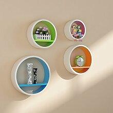 Global- European Style Holz Rundförmige Wand Shelf / Floating Regal / Pflanze Stand / Flower Racks / Bücherregal, Wohnzimmer Wand Hängende TV Backdrop Dekorative Frame ( Farbe : #1 )