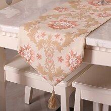 Global- European Style Luxuriöse Stoff Material Tischfahne, Couchtisch Esstisch TV Schrank Tischläufer (33*180cm) ( größe : 33*180cm )