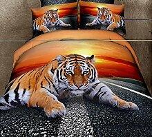 Global- Karikatur-Tiermuster 3D Effekte Haustextilien-Versorgungsmaterialien, Baumwollbettwäsche-Blätter * 1, Steppdecke-Abdeckung * 1, Kissenbezug * 2 ( größe : 2.0m (6.6ft) Bed )